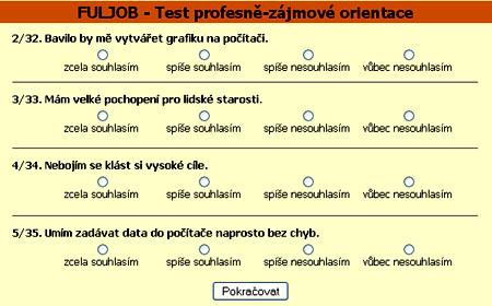 test pracovního typu