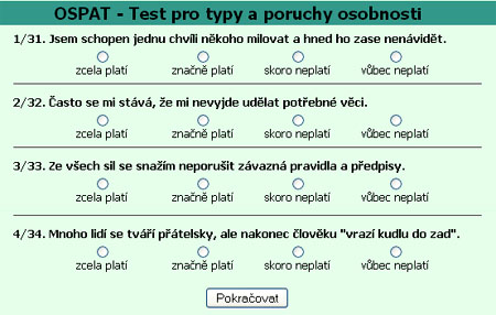 typy a poruchy osobnosti - test